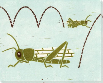 Grasshoppers Wrapped Canvas Giclee Art Print Wall Art