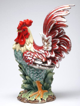 Tall Country Rooster Porcelain Figurine