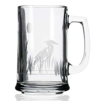 Heron Bird Beer Mugs, Set of 4