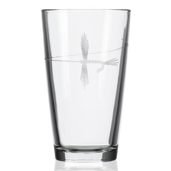 Fly Fishing Pint Beer Glasses, Set of 4