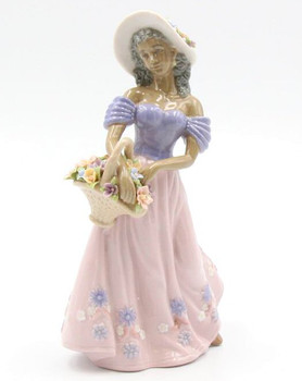 African American Lady with a Flower Basket Porcelain Sculpture