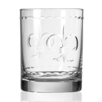 Fleur De Lis Double Old Fashioned Glasses, Set of 4