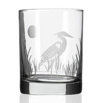 Heron Bird Double Old Fashioned Glasses, Set of 4