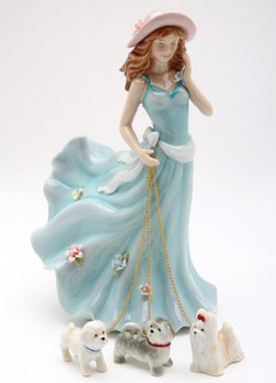 Lady Walking Dogs Porcelain Figurine Sculpture