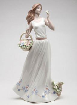 Breezy Spring Time Lady Porcelain Sculpture by Nadal