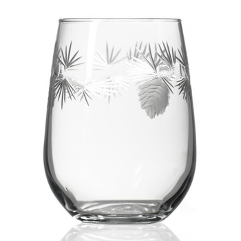 Icy Pine Stemless Wine Glass Goblets, Set of 4
