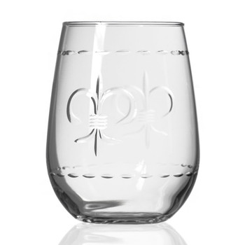 Fleur De Lis Stemless Wine Glass Goblets, Set of 4