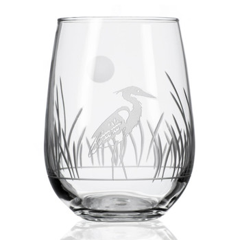 Heron Bird Stemless Wine Glass Goblets, Set of 4