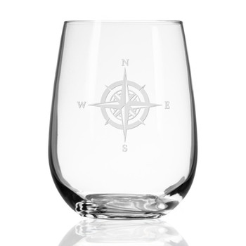 Compass Rose Stemless Wine Glass Goblets, Set of 4