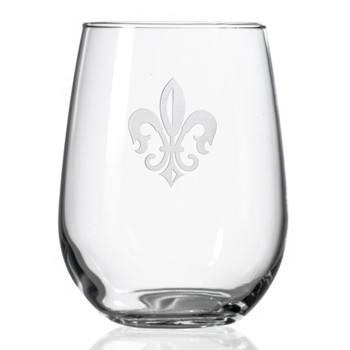 Grand Fleur De Lis Stemless Wine Glass Goblets, Set of 4