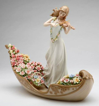 Flowering Inspiration Woman Playing Violin Porcelain Sculpture