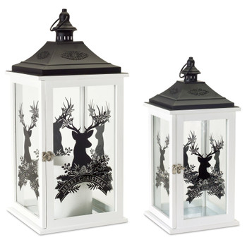 Merry Christmas Deer Candle Lantern Candles Holders, Set of 2