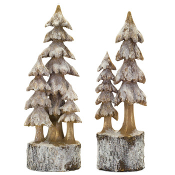 Christmas Trees on Bases Sculptures, Set of 2