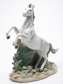 White Beauty Rearing Horse Porcelain Sculpture