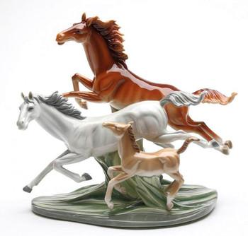 Spirits Running Horses Porcelain Sculpture
