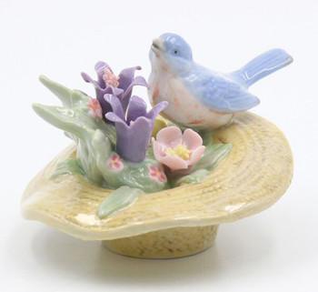 Miniature Bluebird Sitting on a Hat Porcelain Sculpture