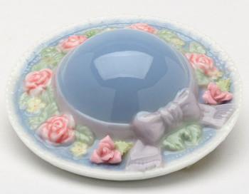 Miniature Hat Mirror with Flowers Porcelain Sculpture