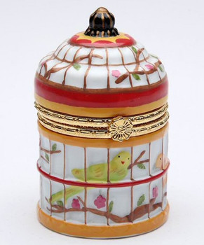 Miniature Birdcage Hinged Box Porcelain Sculpture