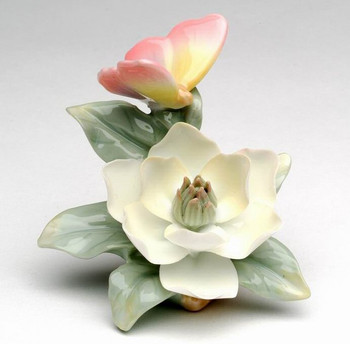 Miniature Butterfly with Magnolia Flower Porcelain Sculpture