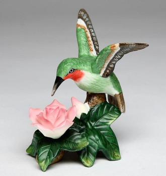 Miniature Hummingbird with Dark Pink Rose Porcelain Sculpture