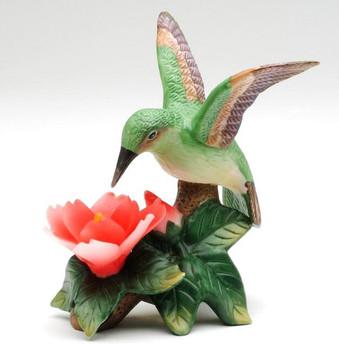 Miniature Hummingbird with Red Flower Porcelain Sculpture