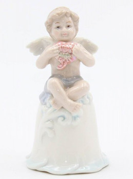 Miniature Cherub Bell Porcelain Sculptures, Set of 2