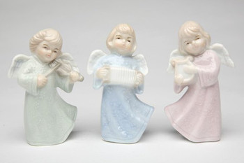 Miniature Joyful Angels Porcelain Sculptures, Set of 3