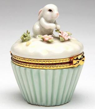 Miniature Bunny Rabbit Hinged Box Porcelain Sculpture