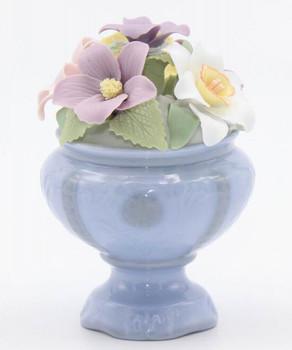 Miniature Violet Flower Pot Porcelain Sculpture