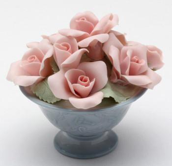 Miniature Pink Rose Flower Pot Porcelain Sculpture