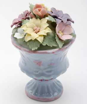 Miniature Daisy Flower Pot Porcelain Sculpture