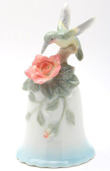 Miniature Hummingbird Bell Porcelain Sculptures, Set of 2
