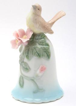 Miniature Robin Bird Bell Porcelain Sculptures, Set of 2