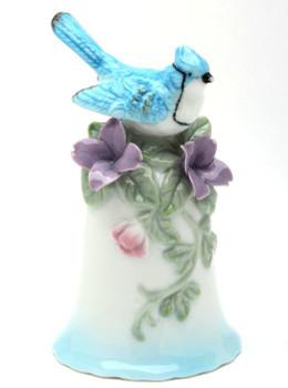 Miniature Blue Jay Bird Bell Porcelain Sculptures, Set of 2