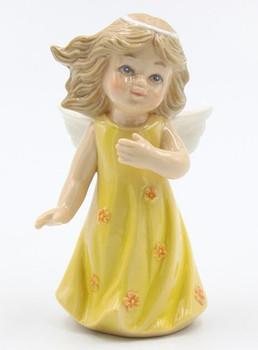 Miniature Angel in a Yellow Dress Porcelain Sculpture