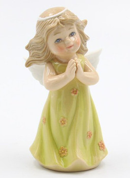 Miniature Angel in a Green Dress Porcelain Sculpture
