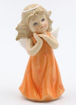 Miniature Angel in a Peach Dress Porcelain Sculpture