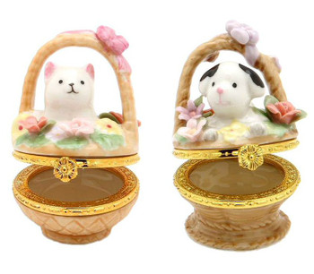 Miniature Cat and Dog Hinged Box Porcelain Sculpture