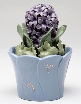 Miniature Hyacinth Flower Pot Porcelain Sculpture