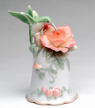 Miniature Hummingbird with Rose Bell Porcelain Sculpture