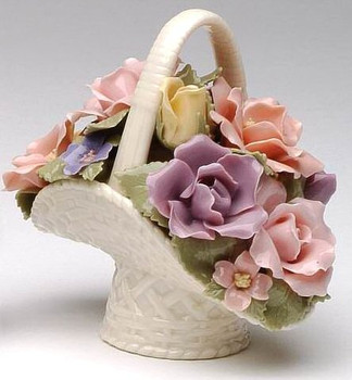 Miniature Assorted Rose Basket Porcelain Sculpture