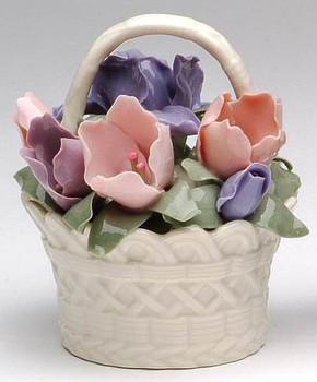 Miniature Iris Flower Basket Porcelain Sculpture