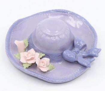 Miniature Purple Hat with Flowers Porcelain Sculpture