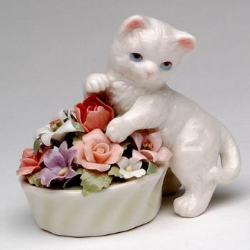 Miniature Kitten with Flowers Porcelain Sculpture