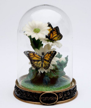 Miniature Monarch Butterfly in Glass Dome Porcelain Sculpture