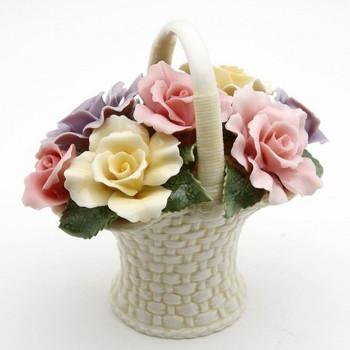 Miniature Rose Flower Basket Porcelain Sculpture