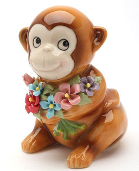 Miniature Monkey Porcelain Sculpture