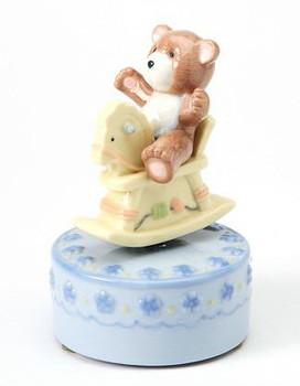 Bear Riding a Rocking Horse Musical Music Box Sculpture