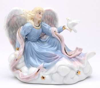 Angel with Dove Musical Music Box Sculpture