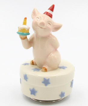 Birthday Pig Porcelain Musical Music Box Sculpture